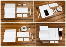 在木背景设置的空白的文具 ID模板 免版税图库摄影
