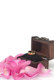 在木胸口的金黄圆环与桃红色玫瑰花瓣 库存图片