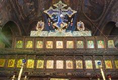 在木薪金的圣障在特罗扬修道院,保加利亚里 库存照片