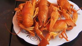 在木表上的煮熟的红色小龙虾在鱼餐馆 股票视频