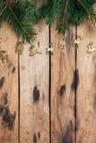 在木表的圣诞节装饰 免版税库存照片