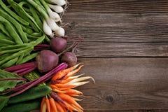 在木表的蔬菜 库存照片