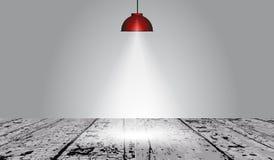 在木表面上的红色灯光 免版税库存图片