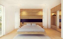 在木装饰的现代卧室内部 免版税库存图片