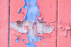 在木门的红色和蓝色雪片油漆 免版税库存图片