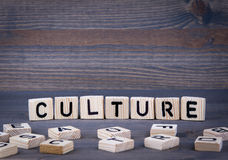 在木刻写的文化词 图库摄影