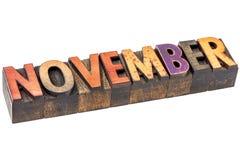 在木类型的11月月 免版税库存照片