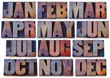 在木类型-日历概念的几个月 图库摄影