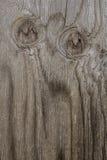 在木头板条的猫头鹰眼睛  免版税库存照片