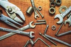 在木头的工具 库存照片