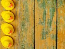 在木头的橡胶鸭子 免版税库存照片