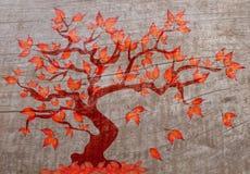 在木头的秋天树 库存例证