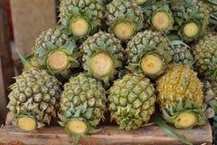 在木头的菠萝热带水果 库存图片