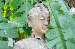 在木头的菩萨雕象 免版税库存照片