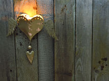 在木头的蜡烛 免版税库存照片
