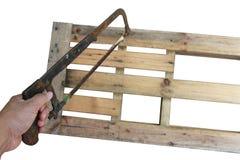 在木头的被分类的工作工具 免版税图库摄影
