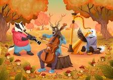 在木头的音乐家动物 免版税库存照片