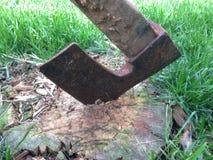 在木头的轴 免版税库存图片