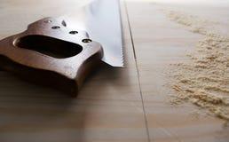 在木头的Sawcut 库存图片