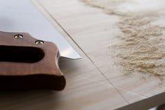 在木头的Sawcut 免版税图库摄影