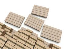 在木paletts,仓库的纸板箱 库存照片