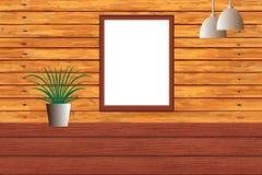 在木Wal的空白的黑板 免版税库存照片