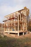 在未完成的房子附近的金属脚手架 生态房子的建筑 房子木制框架建设中 图库摄影