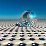 在未来天际的抽象银色球 免版税库存照片