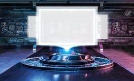 在未来派内部3d翻译的现代广告牌大模型 库存例证