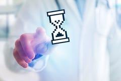 在未来派显示的Pixeled黑白鼠标 免版税图库摄影