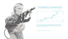 在未来派设计的机器人与UI一起使用 免版税图库摄影