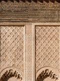 在本优素福马德拉斯的阿拉伯马赛克在马拉喀什,摩洛哥 免版税库存照片