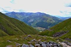 在本尼维斯山,苏格兰,西部高地附近的足迹 免版税库存照片