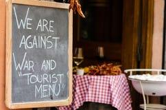 在本机之外的餐馆黑板 免版税库存图片