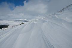 在本Wyvis的雪漂泊 免版税图库摄影