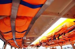 在机上救生衣 免版税库存照片
