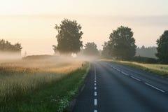 在机动车路的日出在一个有雾的乡下早晨 免版税库存照片