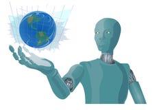 在机器人手摘要例证的蓝色地球 免版税图库摄影