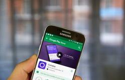 在机器人手机的Cortana app 免版税库存图片
