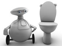在机器人洗手间附近的人 免版税库存图片