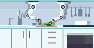 在机器人辅助创新技术人工智能概念上的聪明的得心应手的厨师机器人切口黄瓜 向量例证