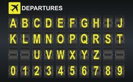 在机场到达和启运显示样式模板的字母表 免版税库存照片