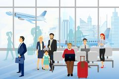 在机场导航人和wemen,孩子,坐和走在机场终端的商人的例证 皇族释放例证