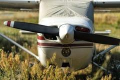 在机场的小航空器 库存图片