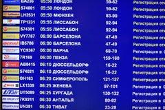 在机场预定飞行离去的航空器 免版税图库摄影