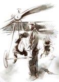 在机场-有飞行员和sol的邮政飞机 库存照片