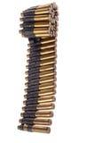 在机枪传送带的30-06个弹药筒 库存照片