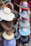 在机架的帽子 免版税库存照片