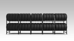 在机架的车胎 在机架的车胎 3d例证 皇族释放例证
