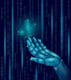 在机械机器人手指手上的蝴蝶 多角形几何创新技术futurustic自然对比概念 库存例证